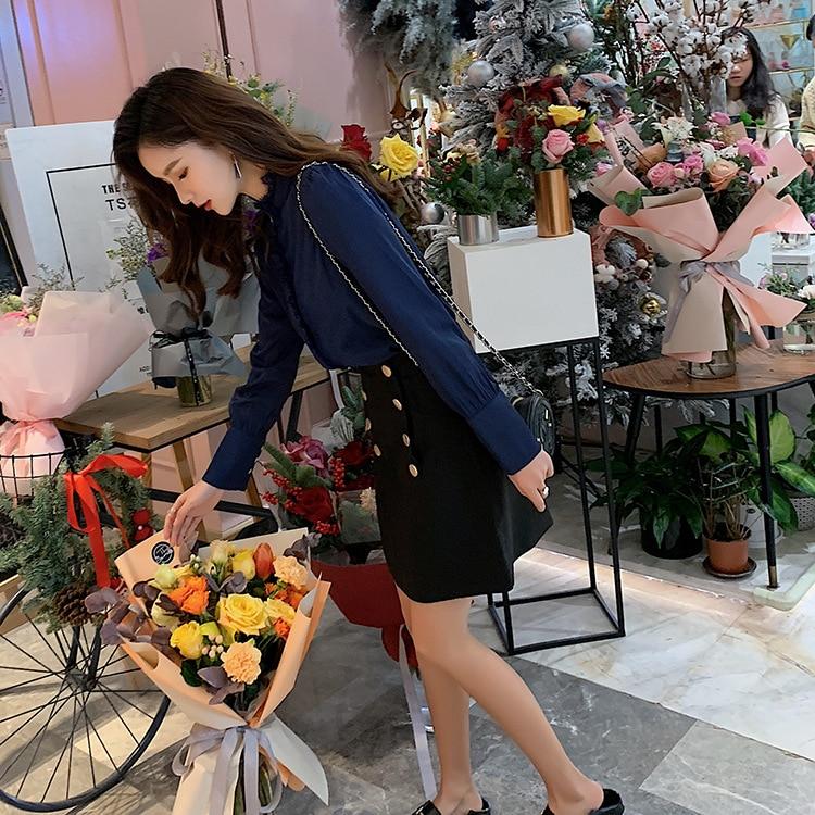 VIDEO + Photo Shoot 2019 Spring New Style Ozhouzhan Hong Kong Style Long Sleeve Versatile Shirt A- Line Skirt Two-Piece Set