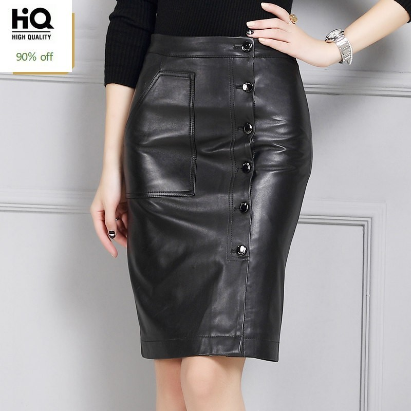 Chic Genuine Leather Skirts Womens Sheepskin Button Black Knee Length Skirt Winter Slim Fit Solid Wrap Skirt Female Streetwear
