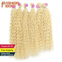 Aplique de cabelo sintético, moda idol afro, cabelo encaracolado, feixes 613, cor loira, cabelo sintético, natureza, 6 pc 20 22 cabelo de 24 polegadas