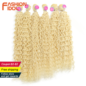 Image 1 - Aplique de cabelo sintético, moda idol afro, cabelo encaracolado, feixes 613, cor loira, cabelo sintético, natureza, 6 pc 20 22 cabelo de 24 polegadas