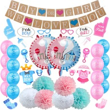Pink and Blue Gender Reveal Balloons Photo booth Props Sash Banner Baby Party Supplies Kit For Boy Or Girl