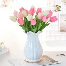 10 pçs tulipa artificial flor branco plutônio real toque para decoração de casa falso tulipas látex flores bouquet casamento jardim decoração