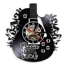 Настенные часы современное искусство виниловая пластина гитара