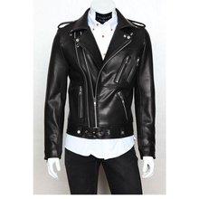 Мужская однотонная мотоциклетная куртка приталенная кожаная