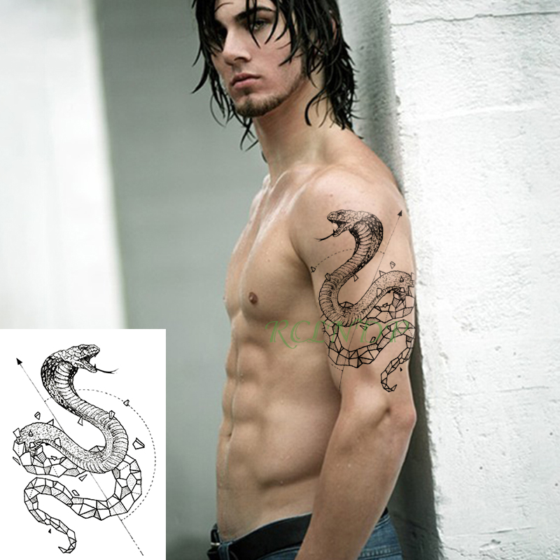 Waterproof Temporary Tattoo Sticker Snake Geometric Animal Fake Tatto Flash Tatoo Tatouage Temporaire  For Men Girl Women