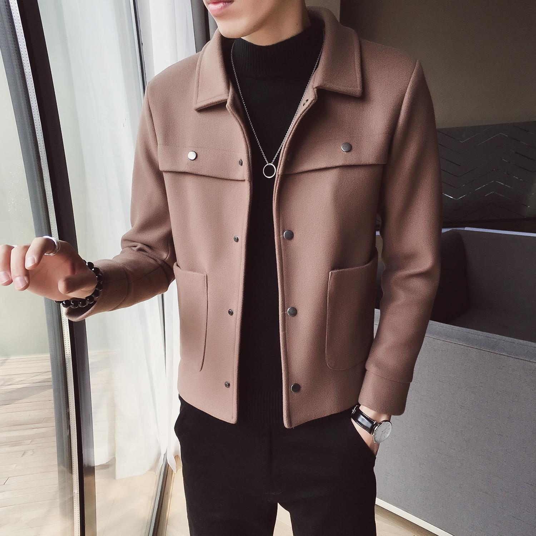 Abrigos Hombre Invierno 2020 Winter Warm Wool Coat Korean Slim Fit Woolen Jacket Men Trend Short Black Coat Men casaco masculino