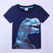Childrenswear Summer Wear Children BOY'S Dinosaur Pattern Printed Short-sleeved round Collar T-shirt Children Base Shirt