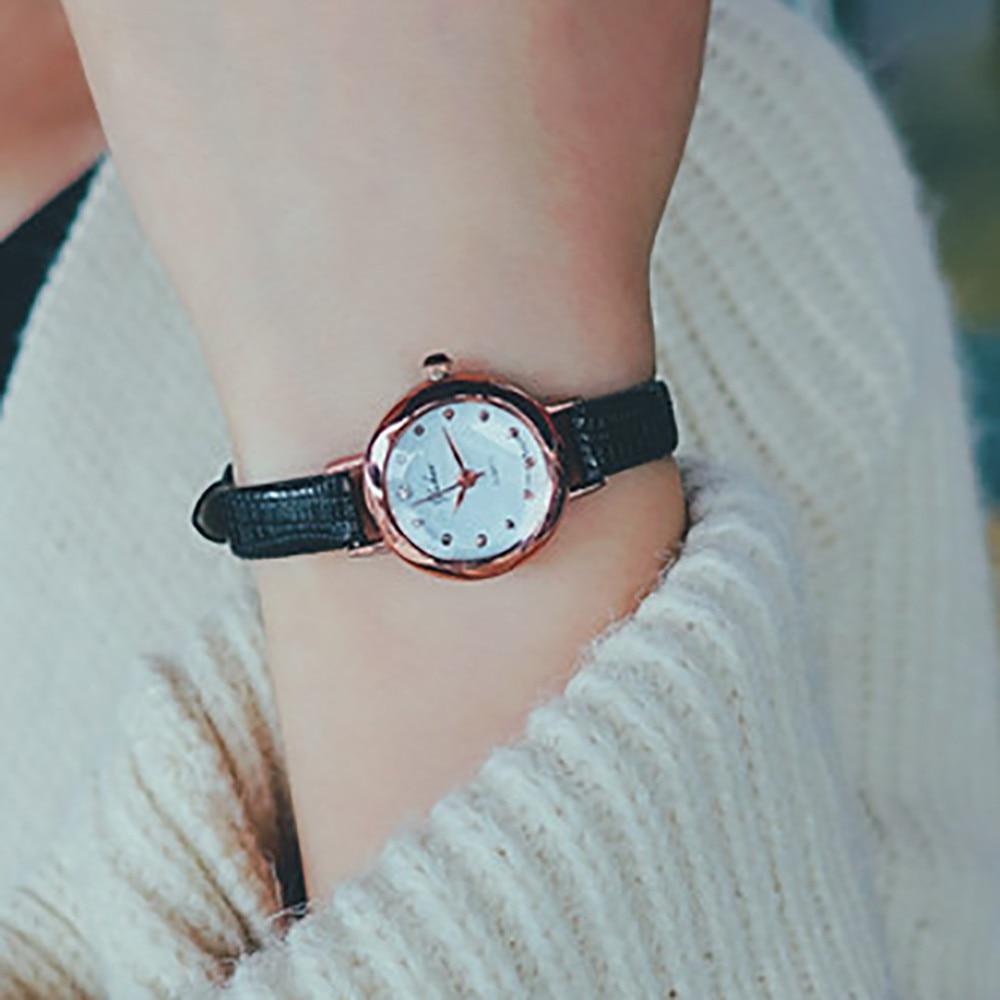 Casual feminino quartzo analógico pequeno dial delicado relógio senhoras moda negócios relógios de pulso de couro presentes relojes para mujer 1