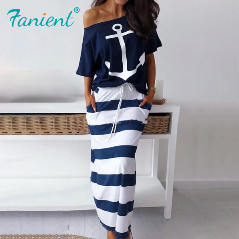 T-Shirt Skirts Street-Wear Maxi Two-Piece-Sets Anchor-Print Striped Fashion Women Ankle-Length
