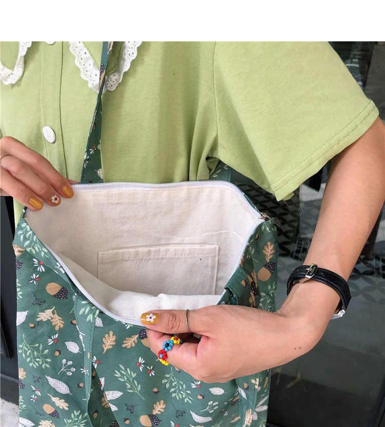قماش القطن بسيط الكرتون طباعة سستة أكياس التسوق الفتيات الأزياء بلون الحياة عارضة pacakge اليد حقيبة