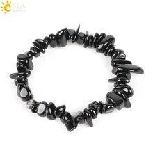CSJA naturalny klejnot kamień Chip koraliki Chakra czarny turmalin bransoletki dla kobiet mały rozmiar uzdrawianie Reiki medytacja Aura prezent E705