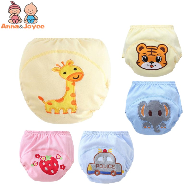 2Pc/Lot  Baby Training Pants Baby Diaper Reusable Nappy Washable Diapers Cotton Ten Designs For 3-12kg