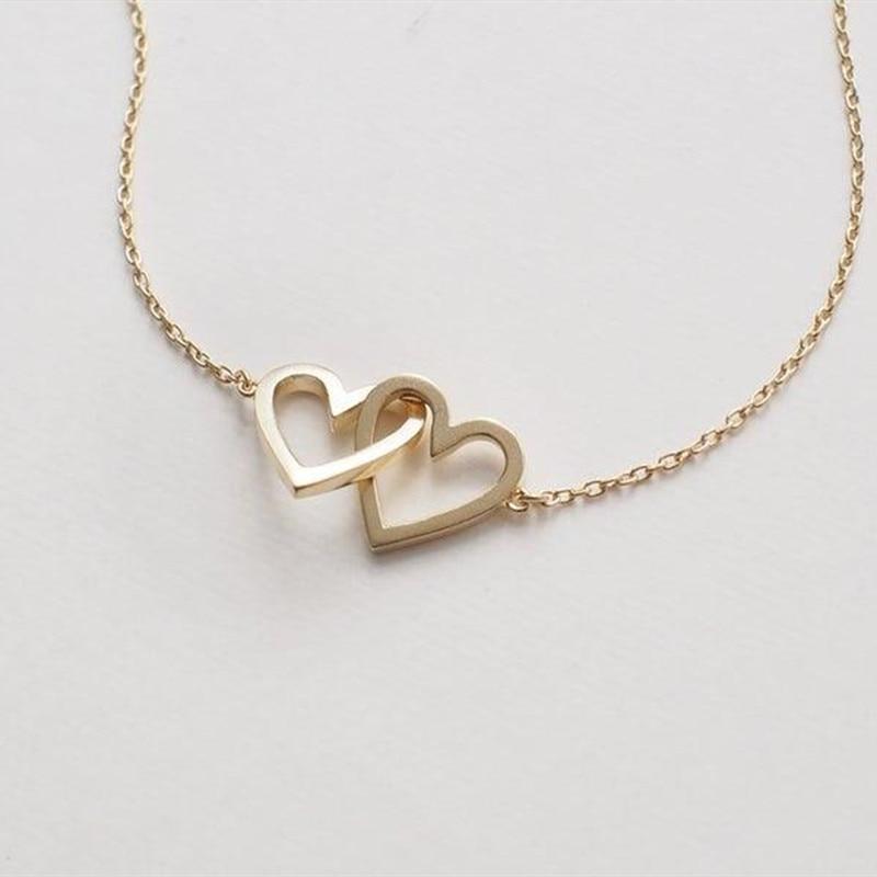 Пара Ожерелья Кулон Серебряное Двойное Сердце Ожерелье Женщины Подарки Подружки Невесты Цепи Воротник Из Нержавеющей Стали Femme 2019