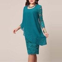 5xl Green Blue Large Size Robe Ceremonie Femme Elegant Women 3/4 Sleeve Chiffon Patchwork Lace Hook Flower Star Print Midi Dress