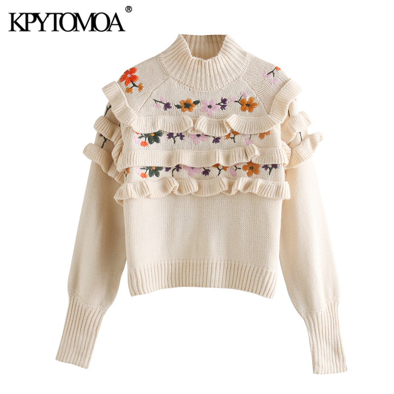 KPYTOMOA Women 2020 Fashion Floral Embroidery Ruffled Knitted Sweater Vintage High Neck Long Sleeve Female Pullovers Chic Tops