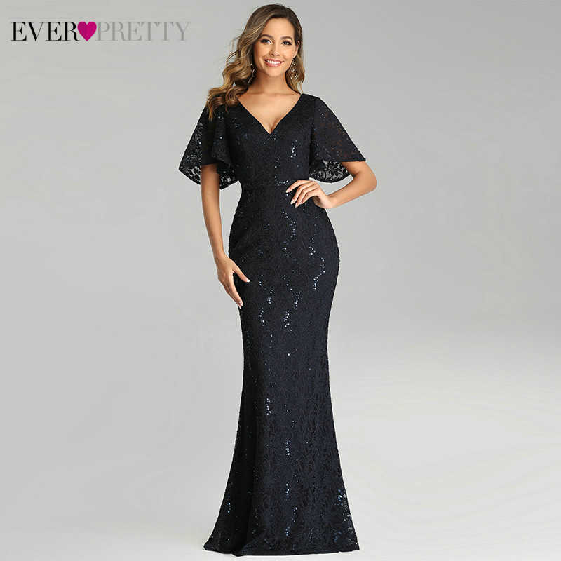 Elegant Marineblauw Avondjurken Ever Pretty Dubbele V-hals Ruches Korte Mouwen Kant Mermaid Party Jurken Robe De Soiree 2020