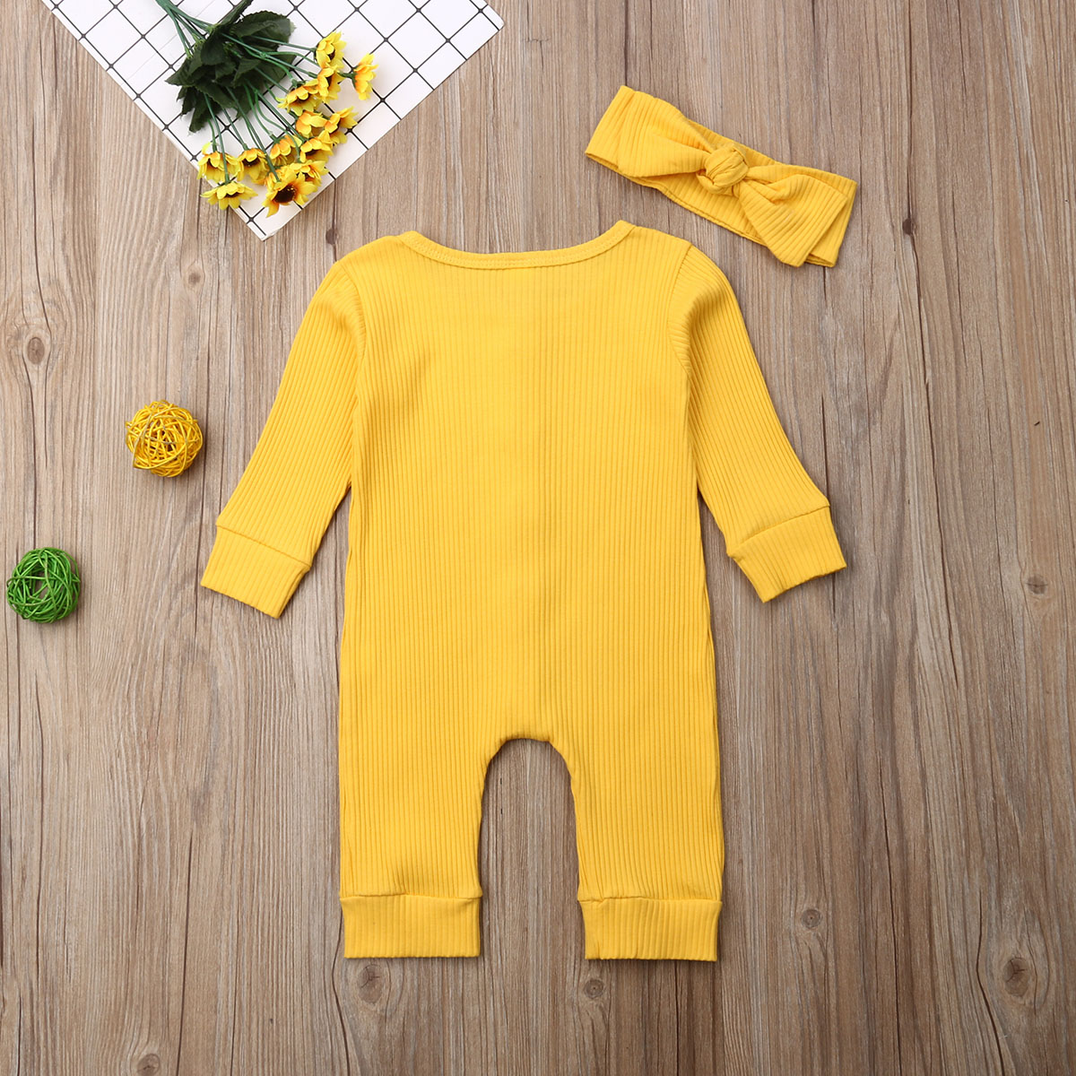 H549bad05d6ea4cb0960e7f2b56e60269i Spring Fall Newborn Baby Girl Boy Clothes Long Sleeve Knitted Romper + Headband Jumpsuit 2PCS Outfit 0-24M