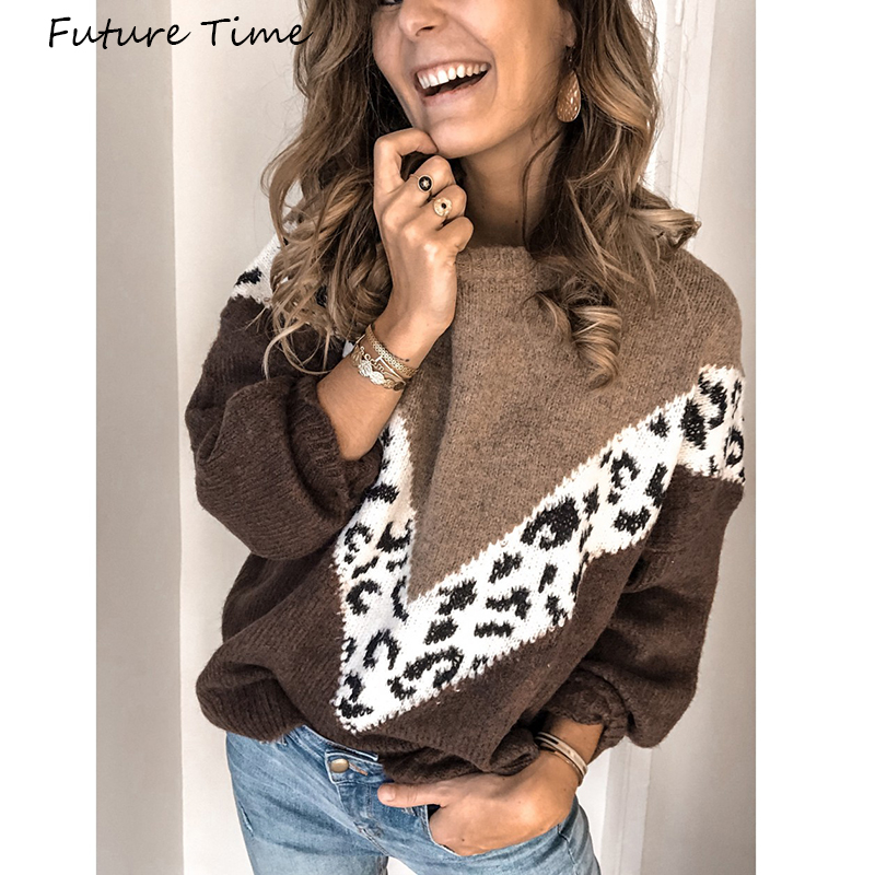 Women Sweater Long Sleeve Leopard Color Patchwork 2019 Autumn And Winter Casual Pullovers Round Collar Plus Size C2026