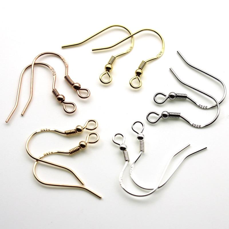 Серьги-Крючки из настоящего серебра 925 пробы гипоаллергенные, фурнитура для изготовления ювелирных изделий «сделай сам»