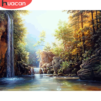 HUACAN Paint By Number River Hand Painted Painting Art Drawing On Canvas Gift DIY Pictures By Numbers Landscape Kits Home Decor