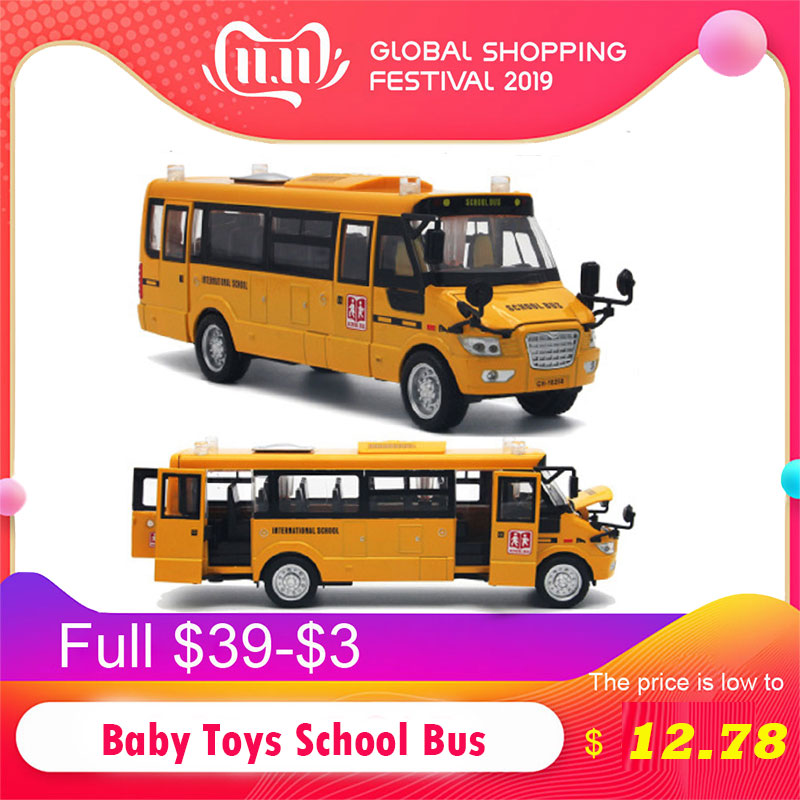 1:32 Baby Toys School Bus Alloy Pull Back Diecast Model Toy Car Inertia Remote Control Car With Sound Light Educational Kids Toy