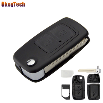 OkeyTech Folding Flip Car Key Shell For Chery A5 Fulwin Tiggo E5 A1 Cowin 2 Button Replacement Remote Control Fob Blank Key Case image