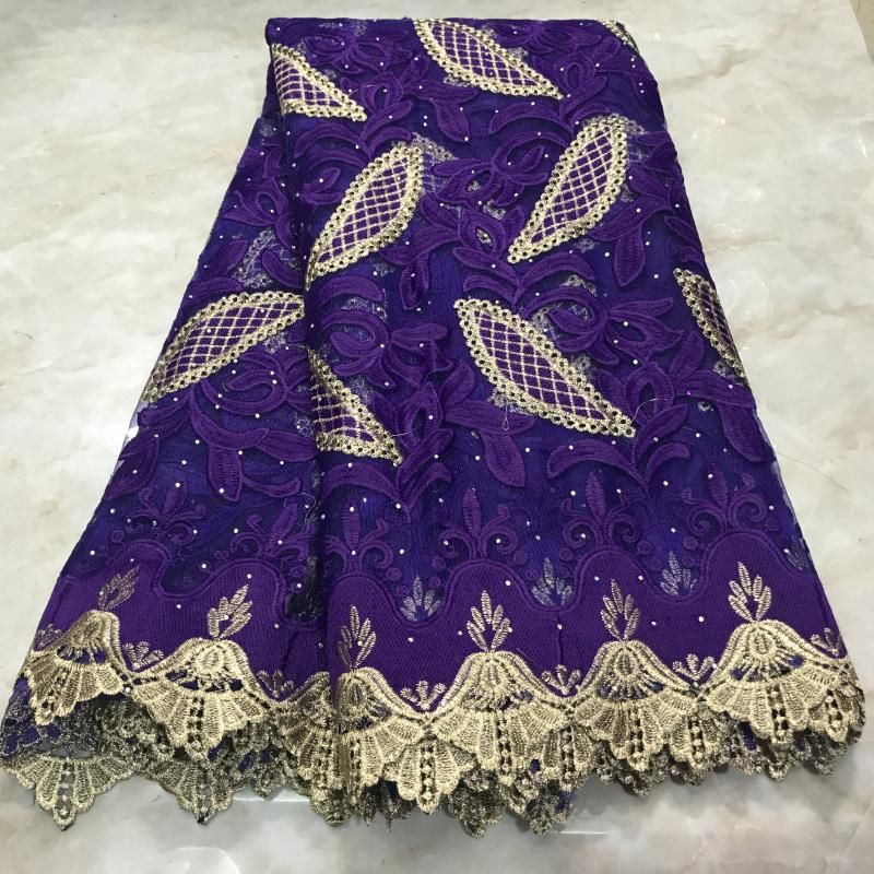 Purple Tulle French Lace With Rhinestones African Lace Fabric 2020 High Quality Embroidery Mesh Lace Materials For Dress Party