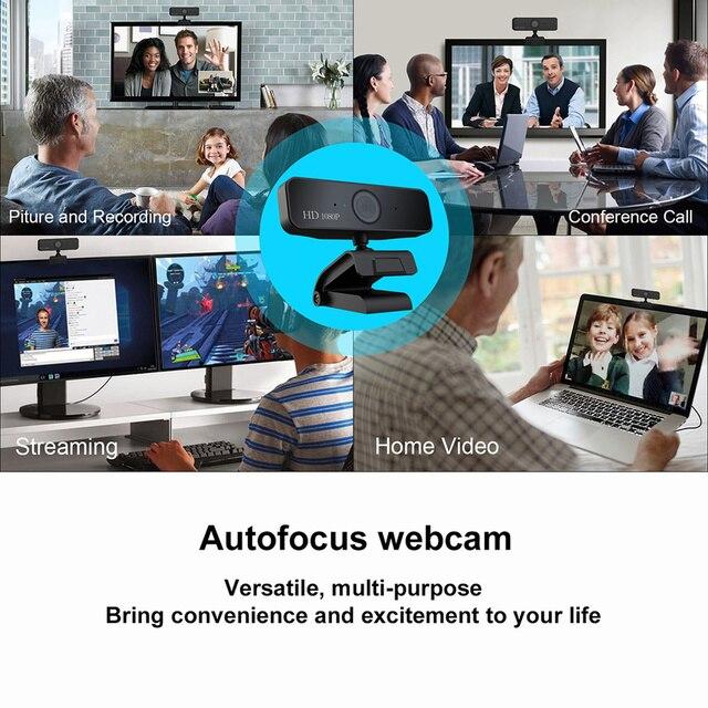 USB Web Camera 1080P HD 5MP Messa A Fuoco Automatica Fotocamera Del Computer Webcam Built-In fonoassorbente Microfono 1920*1080 Risoluzione dinamica 6