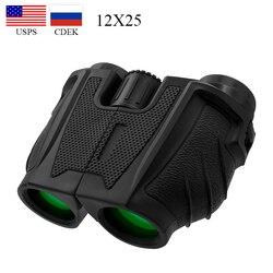 12x25 Compact Binoculars with Low Light Night Vision High Power Waterproof Binocular Professional Portable Binoculars Telescope