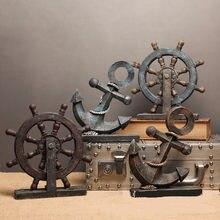 Kreative Europäischen Mittelmeer Holz Schiff Ruder Anchor Helm Retro Figurine Dekor Uhr Requisiten Nautical Antike Wohnkultur
