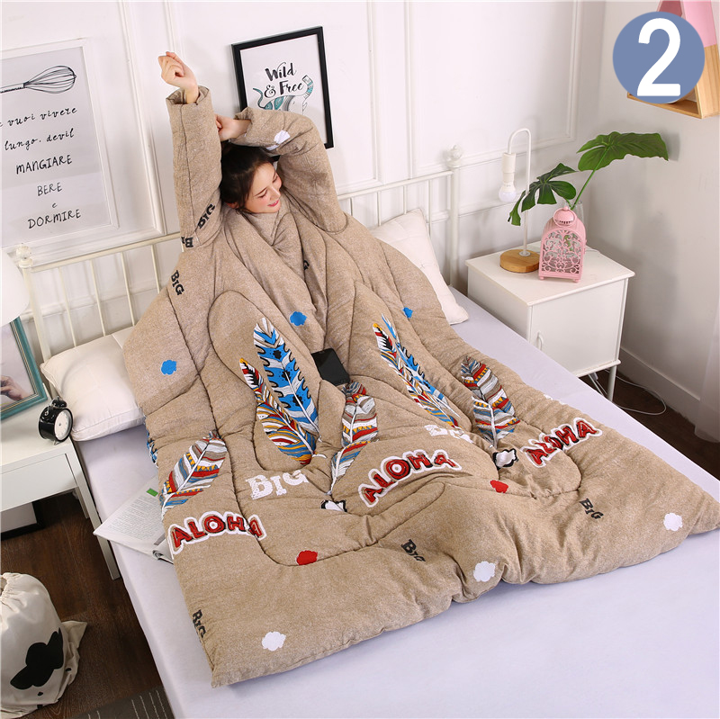 Newly Lazy Quilt With Sleeves Warm Thicken Blanket Multifunction Soft For Home Winter Nap MK