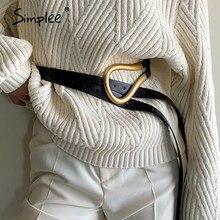 Simplee del metallo Dell'annata delle donne del cuoio lungo cintura Streetwear 6 colore pant dress cinturino Solido di figura rotonda fibbia della cintura femminile 2020