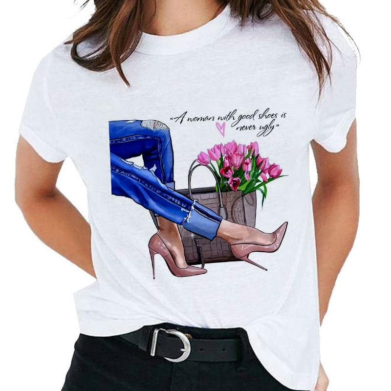 Модная женская футболка на высоком каблуке с принтом, футболки, топы, одежда, новая летняя футболка Harajuku, индивидуальная тонкая футболка для женщин