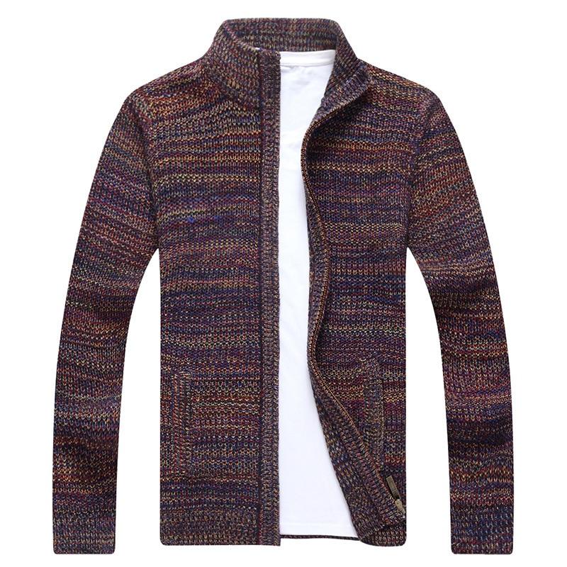 New Mens Fleece Autumn Winter Warm Cotton Sweater Cashmere Dress Slim Fat Wool Zipper Casual Sweater Knitted Top Coat