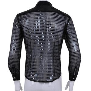 Image 5 - Hommes Men See Through Sequin Latin Shirt Long Sleeve Ballroom Tango Rumba Top Mens Shirts Tops Performance Dance Costume
