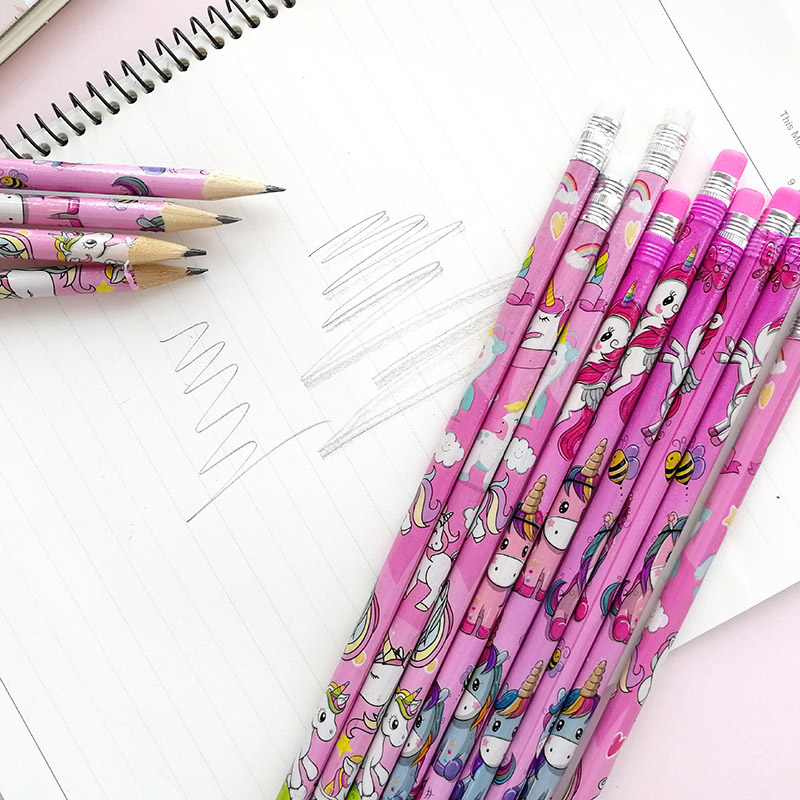 2Pcs Cute Kawaii Cartoon Unicorn Pencil With Eraser 2B Sketch Items Drawing Stationery Student School Supply For Kids Gift