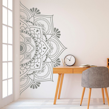 Half Mandala Wall Decal Boho Bohemian Decor Yoga Studio Namaste Vinyl Wall Stickers Master Bedroom Headboard Decoration Z547 1