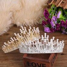 1 Uds Retro Vintage lujo perlas cristal Tiara corona princesa diadema tocado accesorios para el cabello de boda joyería nupcial