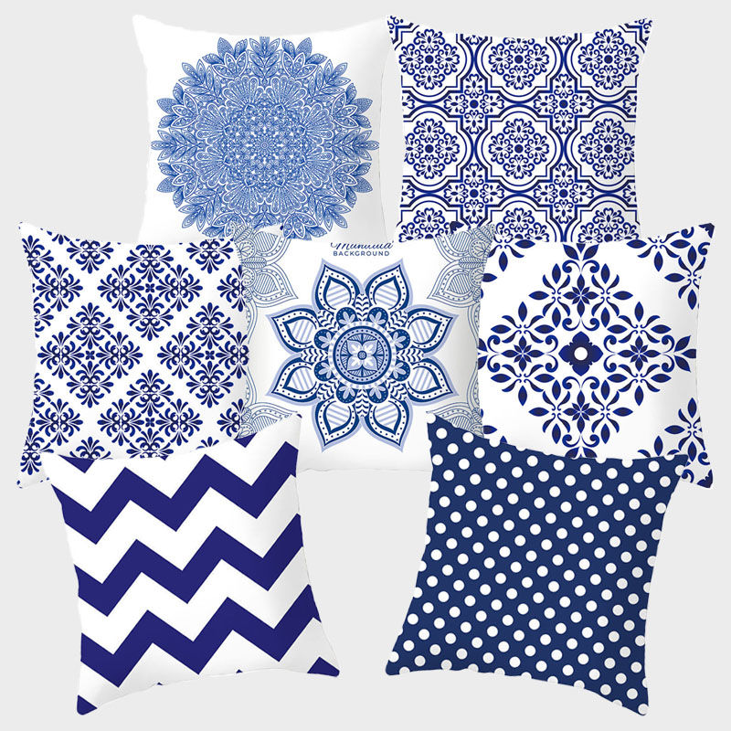 Blue White Porcelain Decorative Pillowcase Cushion Cover Cushion Throw Pillow Chinese Style Polyester Sofa Home Decoration 10066