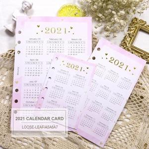 2021 calendar A5 A6 A7 Notebook Journal Filler Spiral Planner Index Divider insert Refill 6 holes Loose Leaf Agenda Stationery
