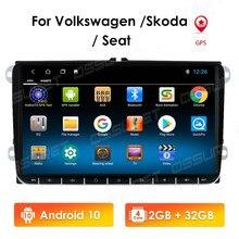 Leitor de dvd do carro para o assento altea leon toledo volkswagen passat skoda série gps navegação áudio estéreo, android 10 2 din redio