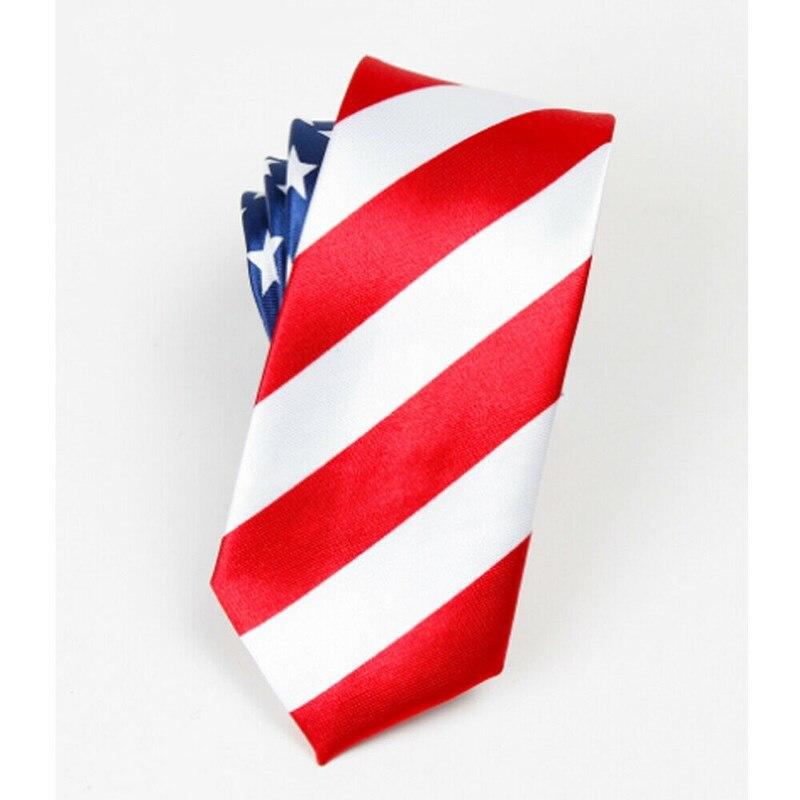 New US 4th Of July Patriotic USA Flag Skinny TIE-US Flag Necktie American Tie