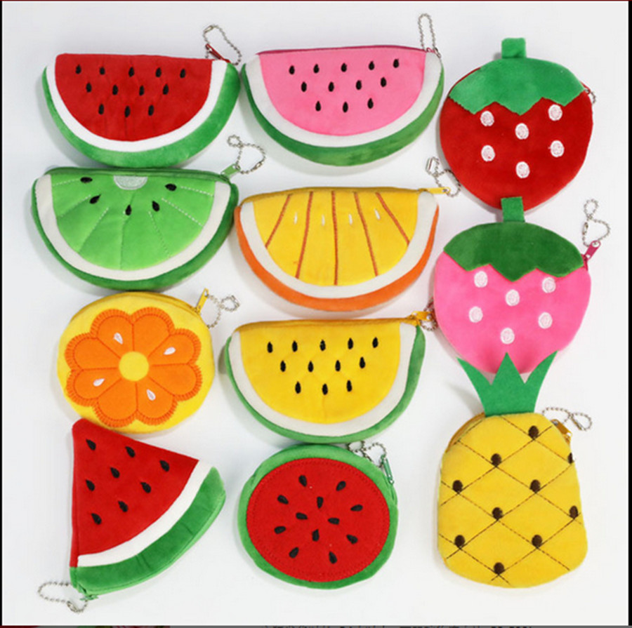 Children Fruit Coin Bag Embroidered Plush Coin Purse Coin Bag Colorful Children Fruit Chain Wallet