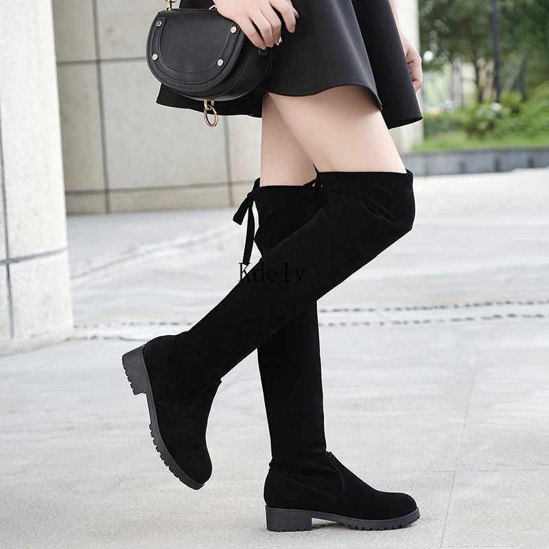 Uyluk yüksek çizmeler kadın kış çizmeler kadın diz üzerinde çizmeler düz streç seksi moda ayakkabılar 2020 siyah Botas Mujer