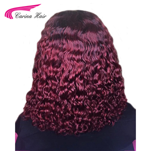 Image 3 - Carina Ombre Dark 99J 13X3 Lace Front Human Hair Wigs With Black Roots Preplucked 130%density Curly Lace Front Wigs