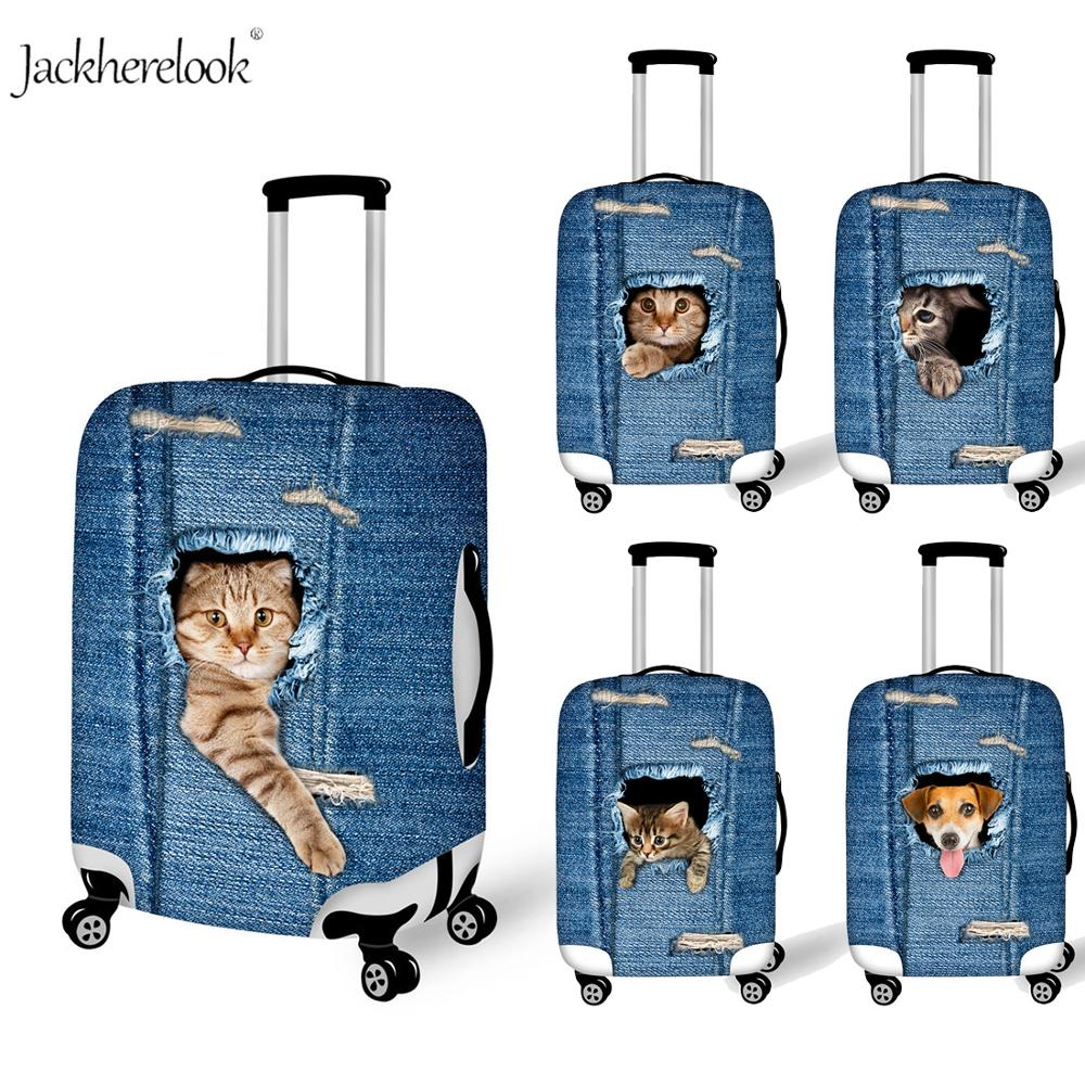 Cute Denim Animal Pet Cat Pattern Travel Suitcase Cover Stretch Luggage/Baggage Bag Protector Jeans Animal Dog Dirty Anti Sheet