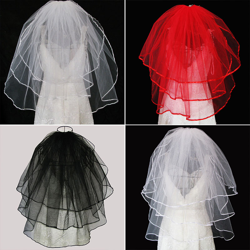 Three-Layer Bridal Wedding Veils With Comb White Ivory Red Black Veil Ribbon Edge Wedding Veil For The Bride Acessorios Noiva