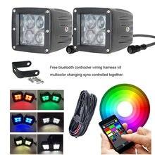 Car Accessories 2pcs 3X3 Inch 24W 5D RGB Led Work Light Bar Spot Pods Bluetooth Control Wiring Kit For Jeep SUV Offroad 4X4 4WD