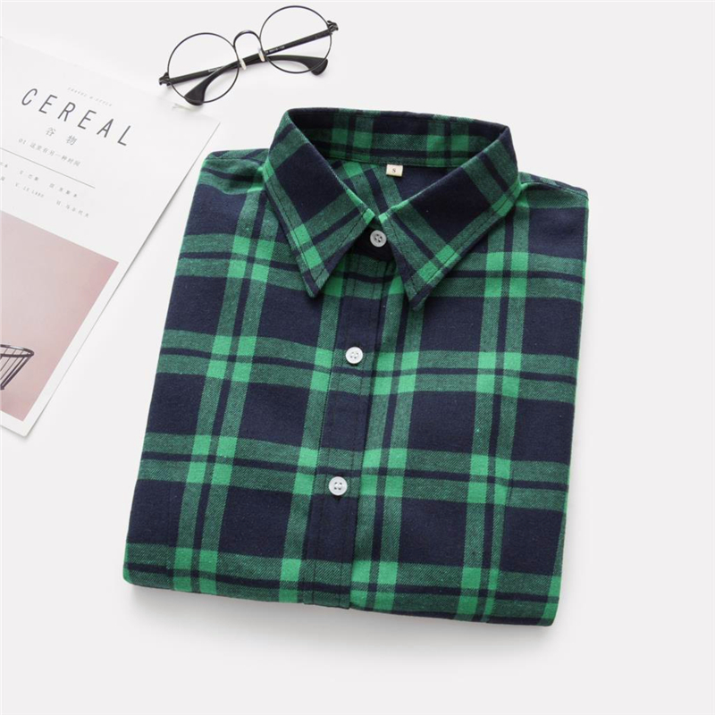 2020 New Women Blouses Brand New Excellent Quality Cotton 32style Plaid Shirt Women Casual Long Sleeve Shirt Tops Lady Clothes 21