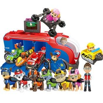 Paw Patrol toys set Music Base Bus Sliding Dog Rescue Team Toy Set Anime Action Figures Model Kids Birthday Gift